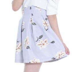ホワイト×フレアスリーブ×シースルー×花柄×フレアスカート