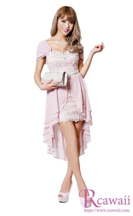 オフショル×前ミニピンクドレス